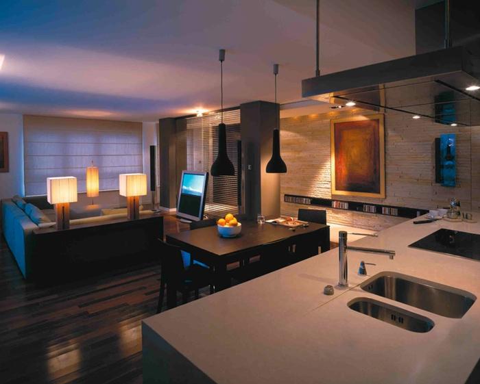 Освещение гостиной по зонам